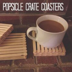 Crate Coaster Craft = Popsicle Sticks & Hot Glue Gun #blog {I used a $3 pack of Popsicle sticks from Hobby Lobby that ended up being enough for 4 coasters (with a little extra!). Simple, easy & FUN! Perfect touch for a rustic room. I may stain them later ;-) } | best stuff