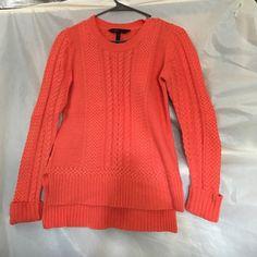 BCBG knit bright coral sweater Very cozy bright coral knit sweater BCBGMaxAzria Sweaters Crew & Scoop Necks