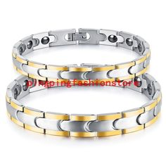 Couples Stainless Steel Silver Gold Health Care Link Chain Men Or Women Bracelet