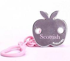"SUAVINEX Pacifier Clip Holder, +0 months ""Scottish Apple"" Pink/ Silver"