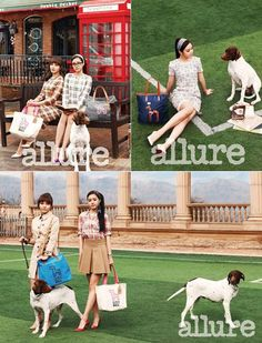 Eunji and Na Eun pose with shelter dogs for 'Allure'
