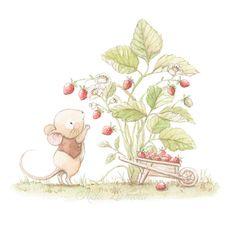 Ilustración ratón cogiendo fresas
