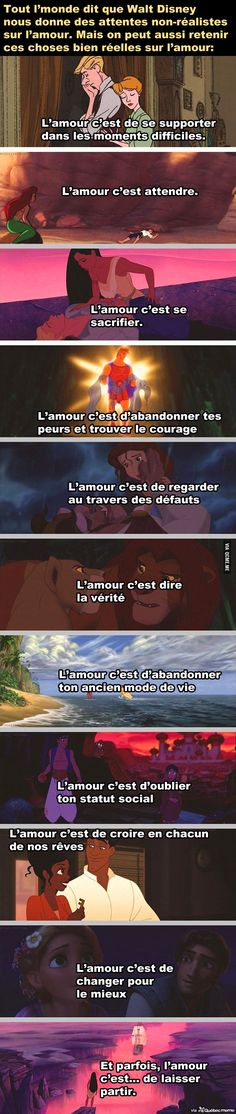 Tout l'monde dit que Walt Disney nous donne des attentes non-réalistes sur l. Everyone says that Walt Disney gives us unrealistic expectations about love. But we can also remember these very real th Walt Disney, Disney Films, Disney And Dreamworks, Disney Magic, Disney Pixar, Disneyland, Cogito Ergo Sum, Quote Citation, French Quotes