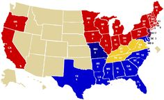 This map shows the results of the 1860 presidential election. States that voted for Abraham Lincoln, the Republican winner, are in red; he only received 40% of the popular vote. Light blue states voted for John Breckinridge, yellow states for John Bell, Missouri for Stephen Douglas, and New Jersey split its votes between Lincoln and Douglas.