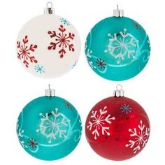 🌟Tante S!fr@ loves this📌🌟Aqua, Red & White Snowflake Ball Ornaments Turquoise Christmas, Retro Christmas, Christmas Love, Christmas Colors, Christmas Tree Themes, Christmas Crafts, Christmas Ideas, Hobby Lobby Christmas, Halloween Door Decorations