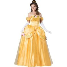 Beauty and the Beast Belle Ultra Prestige Adult Costume ($155) ❤ liked on Polyvore featuring costumes, halloween costumes, womens princess costume, fairy costume, womens costumes, party halloween costumes and adult women costumes