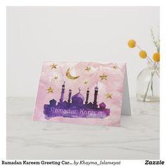 Shop Ramadan Mubarak Greeting Cards created by Khayma_Islameyat. Ramadan Wishes, Eid Mubarak Wishes, Ramadan Greetings, Ramadan Gifts, Ramadan Mubarak, Ramadan Celebration, Eid Cards, Happy Birthday Greeting Card, Custom Greeting Cards