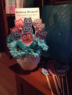 Booking bouquet.   Pick a date for your Origami Owl Jewelry Bar. Have prizes on the back of each one for hosting.