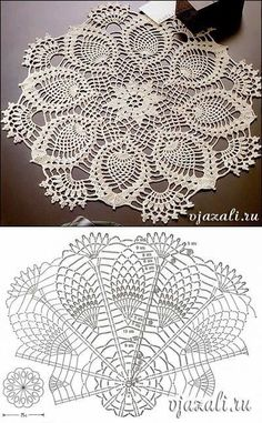 How to Crochet Wave Fan Edging Border Stitch Free Crochet Doily Patterns, Crochet Doily Diagram, Crochet Mandala, Crochet Chart, Thread Crochet, Crochet Designs, Crochet Stitches, Yarn Thread, Crochet Dollies