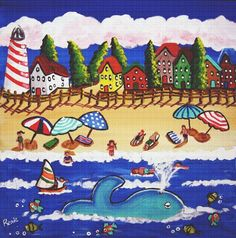 Art Needlepoint Cape Cod Beach With Blue Whale Needlepoint Kit by Renie Britenbucher * You can get more details by clicking on the image.