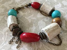 Edgy Bold and Chunky Deer Antler, Bead and Antique Brass Chain Bracelet, Southwestern Jewelry, Antler Jewelry.