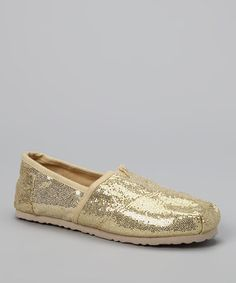 Take a look at this Light Gold Sparkle Slip-On Shoe by Sparkly Steps: Girls' Shoes on #zulily today!