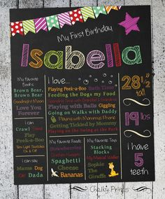 First Birthday Chalkboard Sign - 1st Birthday Chalkboard Poster - Printable & Personalized - 1st Birthday Deco on Etsy, $15.00