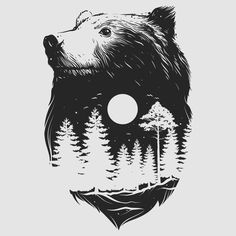 brown bear tattoo with forest and moon inside #armtattoos