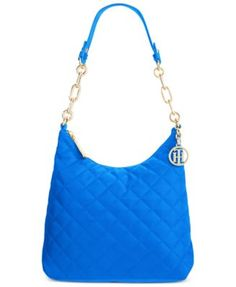 TOMMY HILFIGER Tommy Hilfiger Isabella Quilted Nylon Hobo. #tommyhilfiger #bags #leather #lining #shoulder bags #hand bags #nylon #hobo #