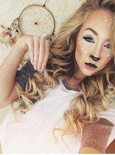 16 Deer Makeup And Antler Ideas For The Cutest Halloween Costume Maquillaje de gata sexxxzzy Deer Halloween Costumes, Reindeer Costume, Cute Costumes, Couple Halloween, Halloween Cosplay, Holidays Halloween, Halloween Make Up, Costume Ideas, Deer Halloween Makeup