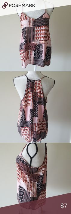 NWOT*Super Cute Flowing Tunic Tank Unworn, tank with print of Copper/Pink/Black and whites. Runs true to size Large but has very little stretch Paper Crane Tops
