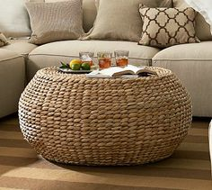 Round Woven Coffee Table toddler friendly #potterybarn