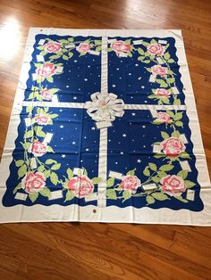 RARE Vintage Tablecloth Happy Birthday Blue Party A California Handprint