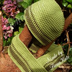 Hat & scarf set in two greens  5 years plus by madebyFionaKate