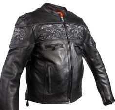 MEN'S MOTORCYCLE REFLECTIVE SKULL LEATHER SCOOTER JACKET W/REFLECTIVE PIPING  #Dream