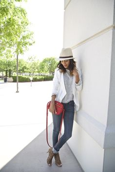 Styled neutrals in a T-shirt, jeans, bag and caged heels all fabfound @marshalls. Spring layers, neutral style, weekend style