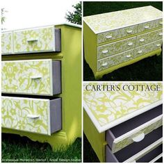 Carter's Cottage adds a little sunshine to their furniture refinishing with our Arabesque Moroccan Stencil and both English Yellow & Pure White Chalk Paint®!