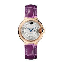 Ballon Bleu de Cartier watch, 33 mm - Automatic, pink gold, diamonds, leather - Fine Watches for women - Cartier