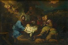 FOLLOWER OF PIETER MULIER II o THE YOUNGER called IL CAVALIER TEMPESTA.  ADORATION OF THE SHEPHERDS. oil on canvas. 47 × 68 cm. Private Collection.