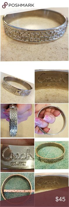 Authentic and Beautiful Silver Coach Bangle So Sweet!  This is a Reposh.  I was told this band was an 8.5... then found she measured around the outside of the band.  So, it doesn't fit me.  Measurement is shown in pictures. Cleaned this bracelet and now it SHINES LIKE NEW!!!  Please see all pictures for more detail. Coach Jewelry Bracelets
