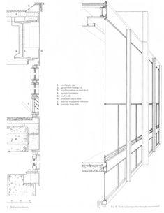 Archivo: Cortes Fugados,Detalle y Corte fugado Crown Hall del Instituto (1956)