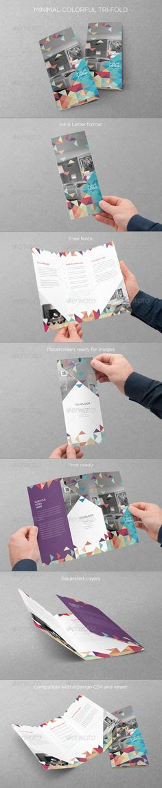 Minimal Colorful Trifold — InDesign INDD #print #custom • Available here → https://graphicriver.net/item/minimal-colorful-trifold/8113889?ref=pxcr