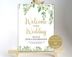 Welcome To Our Wedding Welcome Wedding Sign Printable Welcome