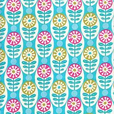 Park Slope - Circles and Stems, Turquoise - $9.50 per yard