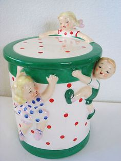 RARE HTF - YONA 1957 - CHILDREN ON A DRUM COOKIE JAR CANDY CANISTER - EXC COND