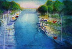 oakville harbour Ontario, Watercolor Paintings, Vibrant, Places, Art, Watercolour Paintings, Watercolor Drawing, Kunst, Watercolor Painting