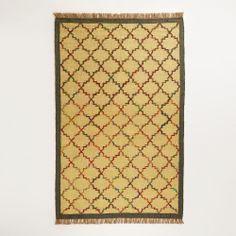 5' x 8' Lattice Design Flat Weave Jute and Recycled Silk Rug | World Market