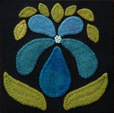 Wool applique PATTERN Orchid 6x6 block 1 by HorseAndBuggyCountry