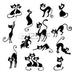 Un sacco di gatti neri in varie pose.