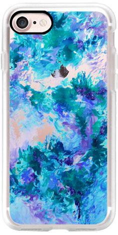 Casetify iPhone 7 Classic Grip Case - WHEN WE WERE MERMAIDS 6 - Chic Colorful Cool Aqua Turquoise Blue Lavender Purple Ocean Waves Floral Bouquet Bride Bridal Wedding Flowers Coastal Painting by Ebi Emporium #Casetify