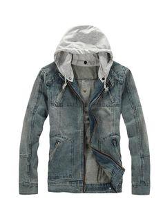 Mens Denim Jacket Denim Hooded Solid Pockets Zipper Long Sleeve Slim Casual Men Jacket Discount Online Shopping