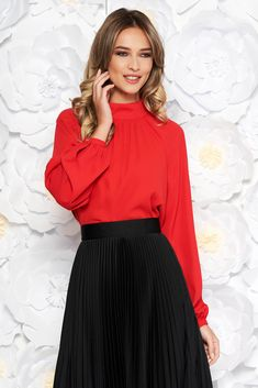 StarShinerS red elegant flared women`s blouse from veil fabric with inside lining long sleeved, easy cut, long sleeves, voile fabric, thin fabric, back buttons fastening, inside lining