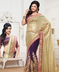 Buy Angelic Purple And Soft Yellow Party Wear Sarees [PNTSL3003] at $81.75