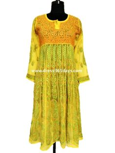 Faux Georgette Anarkali with Resham Chikankari Embroidery and Golden Mukaish