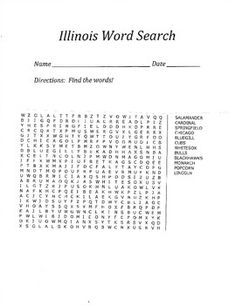 This product includes 1 word search puzzle and 1 answer