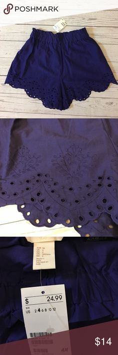 H&M Eyelet Scalloped Shorts NWT Gorgeous deep purple color, Inseam 3'' H&M Shorts
