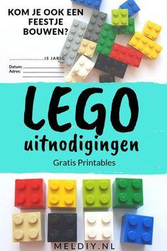 LEGO thema uitnodigingen voor een LEGO fan en feestje mag een uitnodiging niet missen. Gratis te downloaden. #LEGO #uitnodiging #feestje #party Diy Invitations, Homemade Invitations