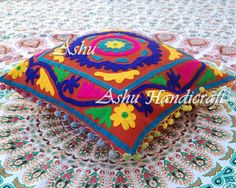 16X16'' Indian Cotton Embroidery Suzanne Pompom Decor Cushion Pillow Cover @003