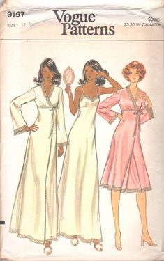 1970s Vogue 9197 Misses Lingerie Pattern Lacy Satin Negligee and Peignoir womens vintage sewing pattern by mbchills on Etsy