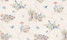 Emil (779-58) - Sandberg Wallpapers - A great map effect design with a fairytale landscape set out with tiny hamlets, and characters on a meandering trail. Shown in the multi coloured blue, green and pink on white version. Please request a sample for true colour match.